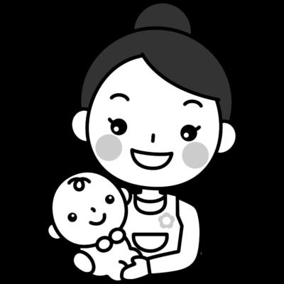 赤ちゃんを抱っこする保育士(ベビーシッター)の白黒(モノクロ)イラスト