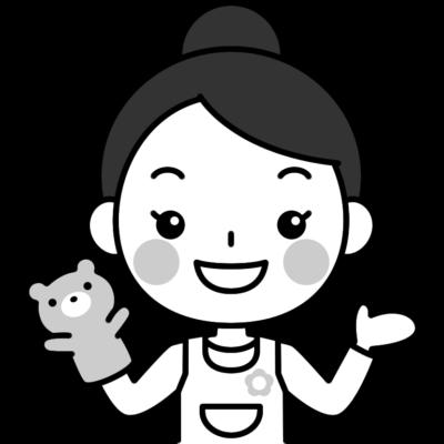 人形劇をする保育士の白黒(モノクロ)イラスト
