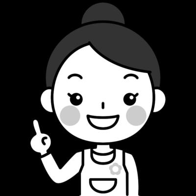 指差しポーズをする保育士の白黒(モノクロ)イラスト