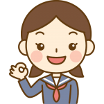 OKポーズをする女子中学生のイラスト