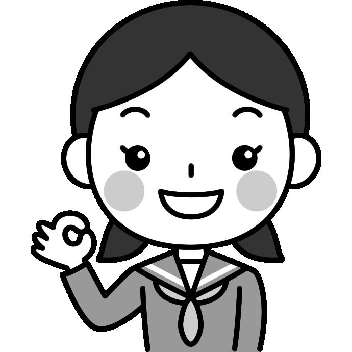 OKポーズをする女子中学生の白黒(モノクロ)イラスト