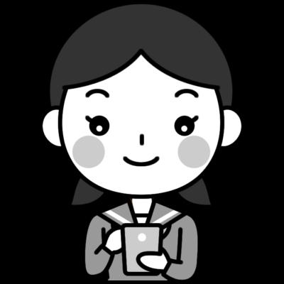 スマホを操作する女子中学生の白黒(モノクロ)イラスト