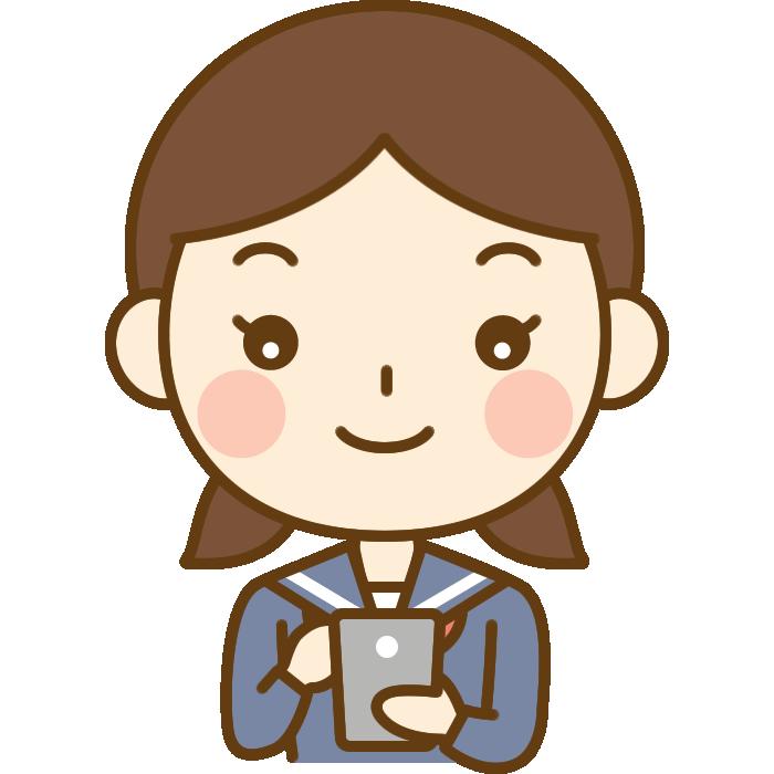 スマホを操作する女子中学生のイラスト