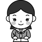 勉強をする女子中学生の白黒(モノクロ)イラスト