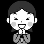 大喜びする女子中学生の白黒(モノクロ)イラスト