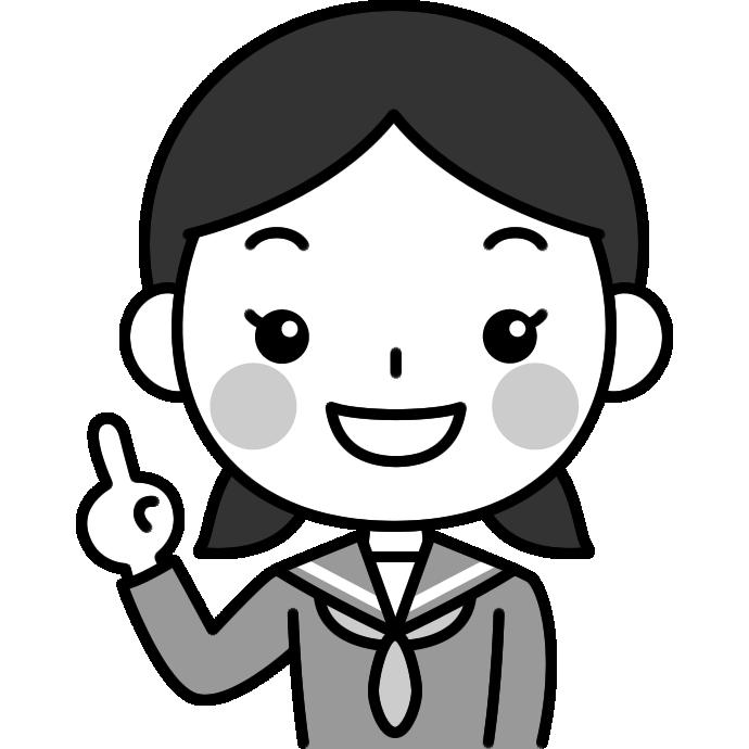 指差しポーズをする女子中学生の白黒(モノクロ)イラスト
