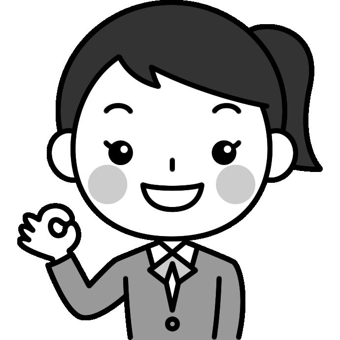 OKポーズをする女子高校生の白黒(モノクロ)イラスト