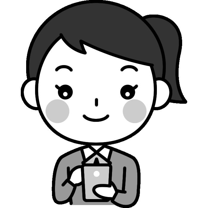 スマホを操作する女子高校生の白黒(モノクロ)イラスト