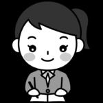 勉強をする女子高校生の白黒(モノクロ)イラスト