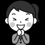 大喜びする女子高校生の白黒(モノクロ)イラスト