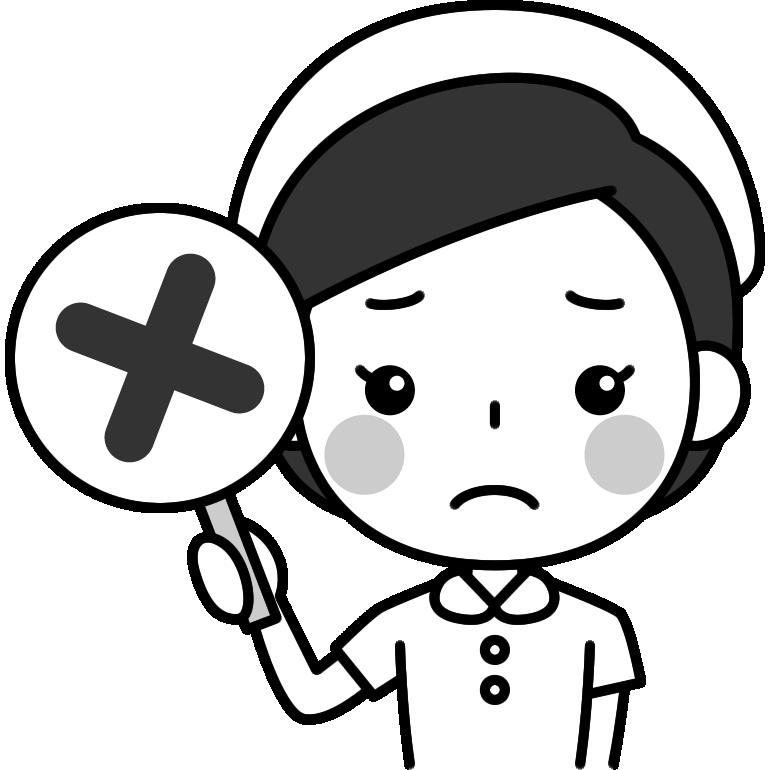 バツ印を出す看護師の白黒(モノクロ)イラスト