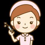 注射器を持った看護師(ナース)のイラスト<ピンクの白衣>
