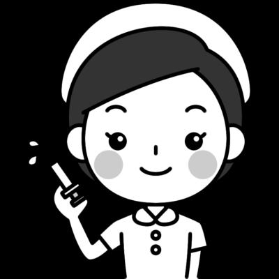 注射器を持った看護師の白黒(モノクロ)イラスト