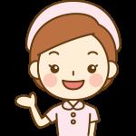 案内をする看護師(ナース)のイラスト<ピンクの白衣>