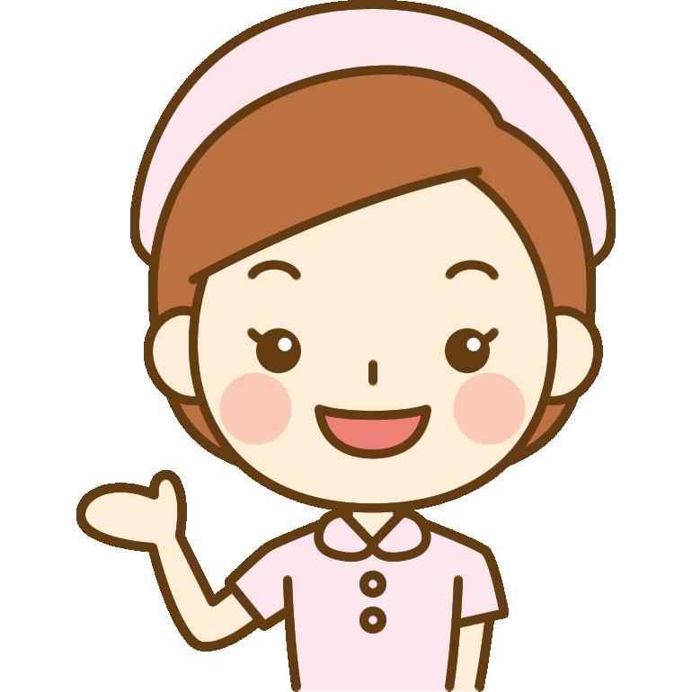 案内をする看護師のイラスト<ピンクのナース服>