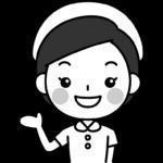 マル印を出す看護師の白黒(モノクロ)イラスト