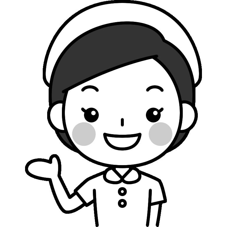 案内をする看護師の白黒(モノクロ)イラスト