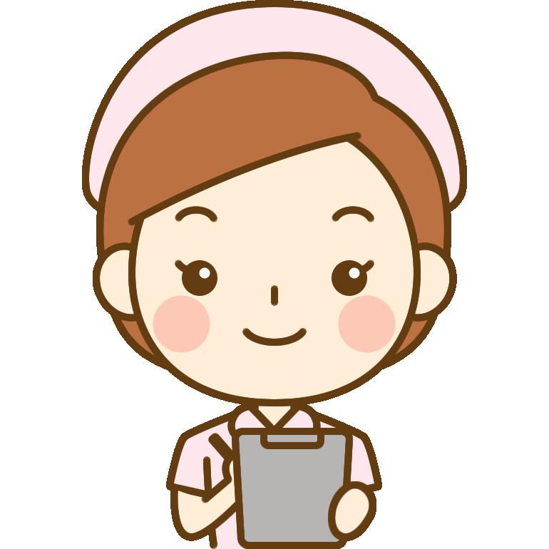 問診をする看護師のイラスト<ピンクのナース服>