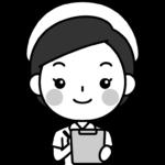 問診をする看護師の白黒(モノクロ)イラスト