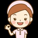 OKポーズをする看護師(ナース)のイラスト<ピンクの白衣>