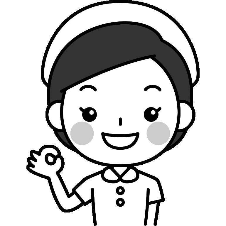 OKポーズをする看護師(ナース)の白黒(モノクロ)イラスト