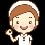 OKポーズをする看護師(ナース)のイラスト<白の白衣>
