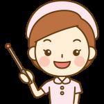 指し棒で説明する看護師(ナース)のイラスト<ピンクの白衣>