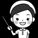 指し棒で説明する看護師(ナース)の白黒(モノクロ)イラスト