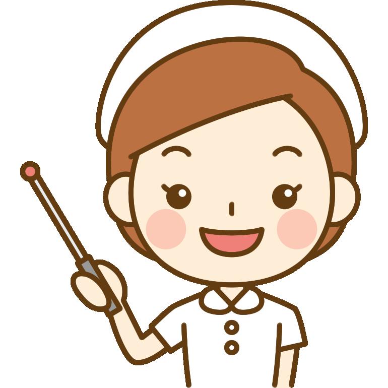 指し棒を持った看護師(ナース)のイラスト<白の白衣>
