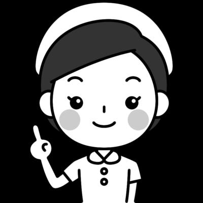 指差しポーズをする看護師(ナース)の白黒(モノクロ)イラスト