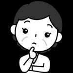 疑問・はてなのポーズをするおばさん(中年女性)の白黒(モノクロ)イラスト