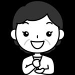 ひらめき・なるほどのポーズをするおばさん(中年女性)の白黒(モノクロ)イラスト
