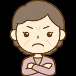 怒っているおばさん(中年女性)のイラスト