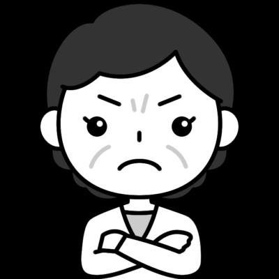 怒っているおばさん(中年女性)の白黒(モノクロ)イラスト