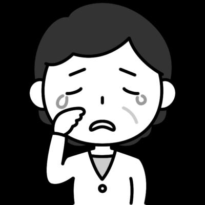 悲しくて泣いているおばさん(中年女性)の白黒(モノクロ)イラスト