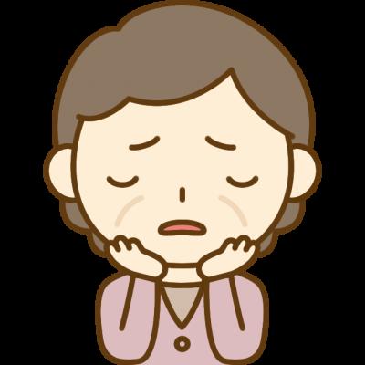悩みを抱えるおばさん(中年女性)のイラスト