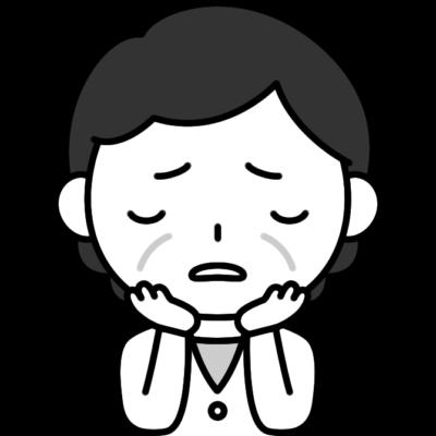 悩みを抱えるおばさん(中年女性)の白黒(モノクロ)イラスト