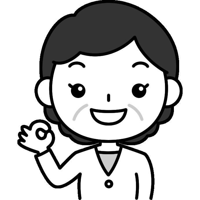 OKポーズをするおばさん(中年女性)の白黒(モノクロ)イラスト