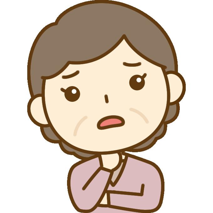 心配するおばさん(中年女性)のイラスト