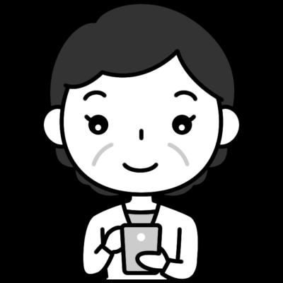スマホを操作するおばさん(中年女性)の白黒(モノクロ)イラスト