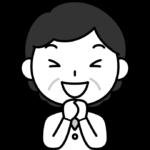 大喜びするおばさん(中年女性)の白黒(モノクロ)イラスト
