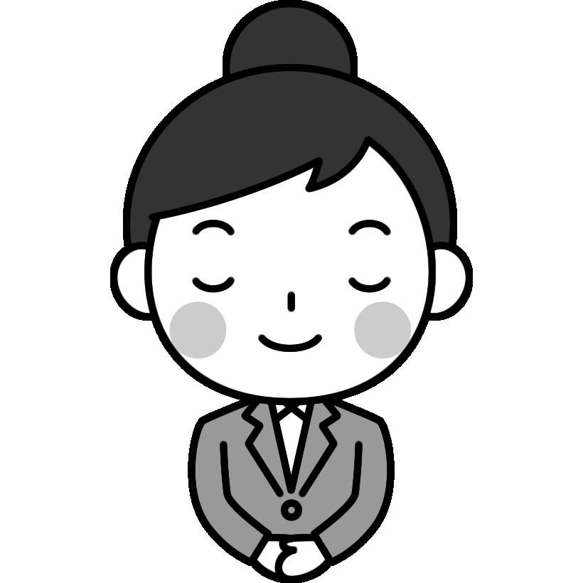 お辞儀をするOL(会社員)の白黒(モノクロ)イラスト