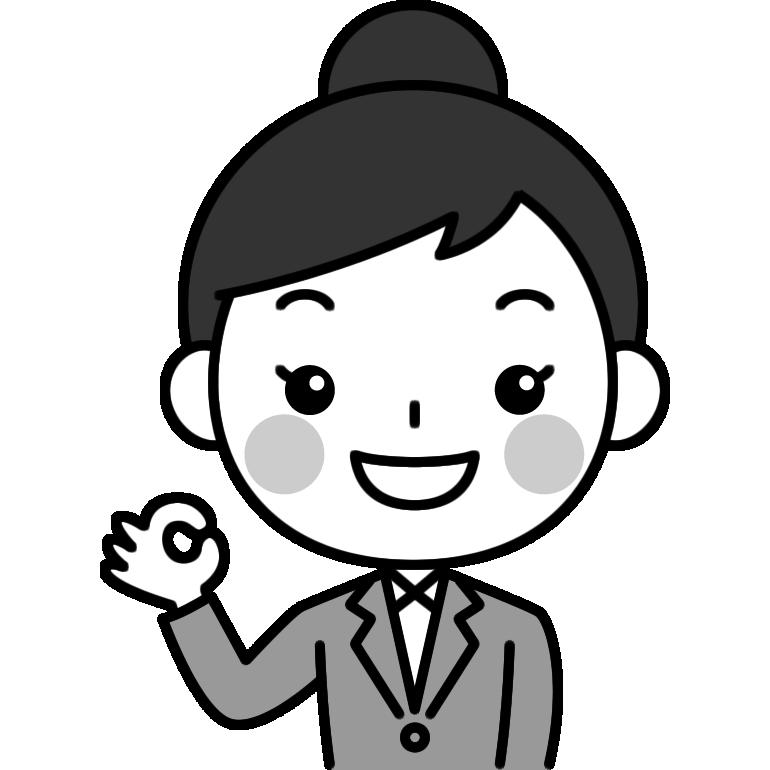 OKポーズをするOL(会社員)の白黒(モノクロ)イラスト