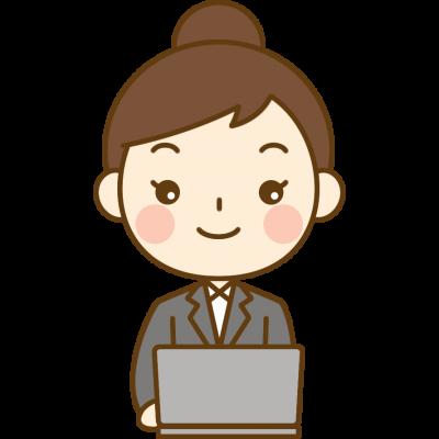 パソコンをするOL(会社員)のイラスト