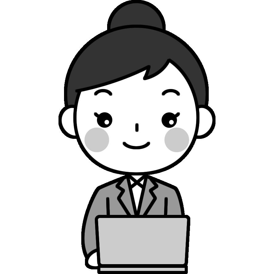 パソコンをするOL(会社員)の白黒(モノクロ)イラスト