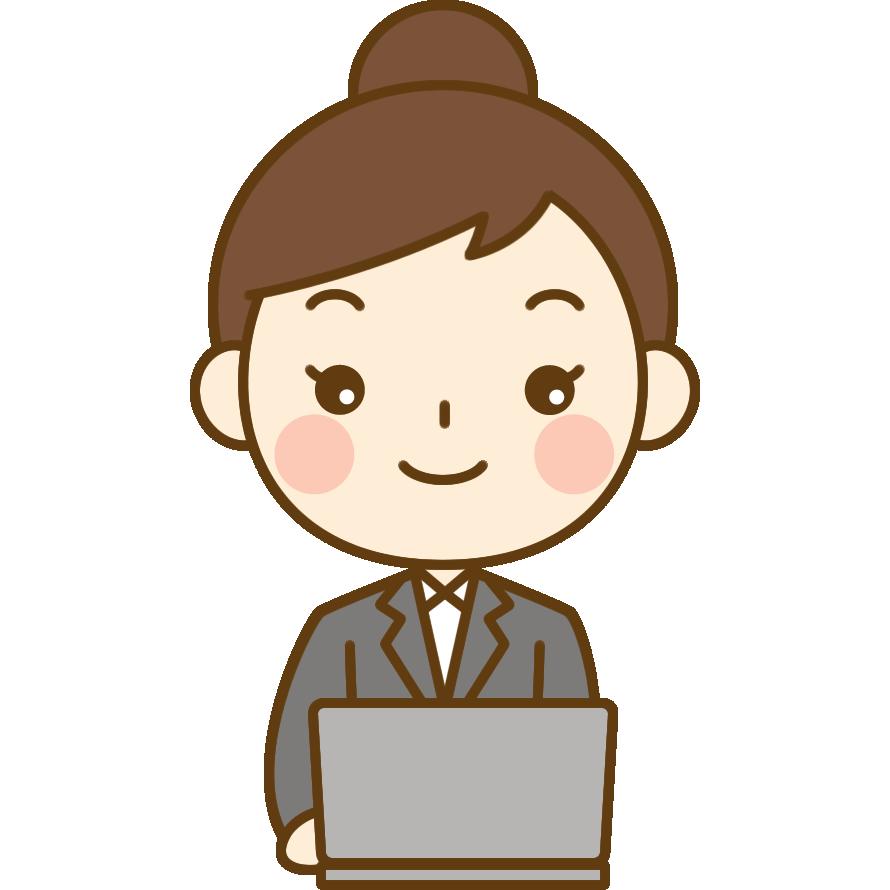 パソコンをするol(会社員)のイラスト | かわいい女性の無料イラスト