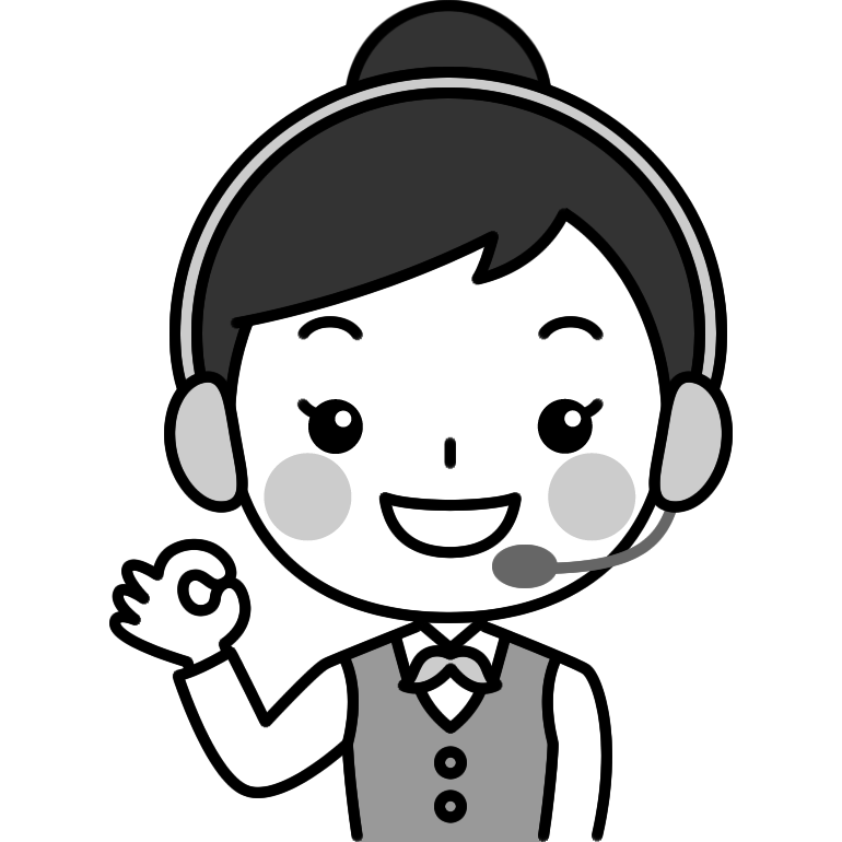 OKポーズをするテレフォンオペレーターの白黒(モノクロ)イラスト
