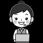 パソコンをするテレフォンオペレーターの白黒(モノクロ)イラスト