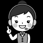 指差しポーズをするテレフォンオペレーターの白黒(モノクロ)イラスト