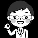OKポーズをする薬剤師の白黒(モノクロ)イラスト